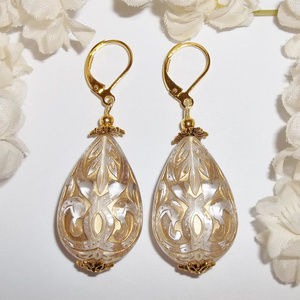 Gold and Clear Earrings Teardrop Statement Jewelry
